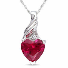 10k White Gold Ruby and Diamond accent Heart Love Pendant Necklace