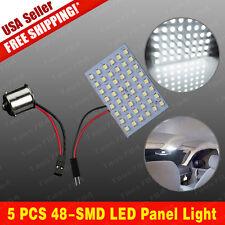 5X Pure White RV Trailer 1156 BA15S Adapter +48SMD Interior Dome Panel LED Light