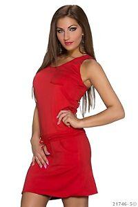 Kleid Minikleid mit Tunnelzug Schwarz, Pink, Lachs, Rot, Gelb, Türkisgrün Kleid