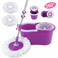 Stainless Steel 360°Spin Mop & Bucket Set Foot Rotating Magic Floor Mop Purple