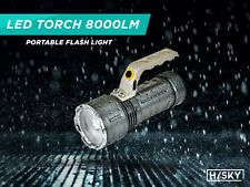 HISKY-LED torch 8000lm Rechargeable CREE Spot Light Zoomable flashlight Handheld