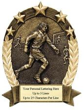 """6 1/4"""" Male Soccer Trophy Award -Antique Gold Resin with Free Personalized Plate"""