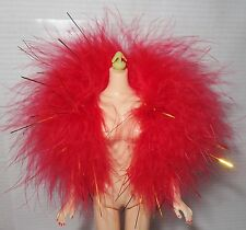 BOA ~MATTEL BARBIE DOLL RED GOLD HOLLYWOOD CAST PARTY FEATHER BOA DOLL ACCESSORY
