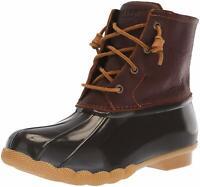 Sperry Womens Saltwater Duck Round Toe Ankle Rainboots, Tan/Dark Brown, Size 6.0