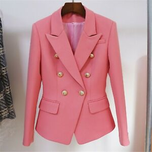 Women's  Designer Inspired Fitted Golden Lion Buttons Blazer + Skirt Pink