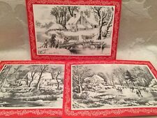 Vintage Currier & Ives Christmas Cards Set Lot Of 3 Skating Pond Old Mill 5 1/2�