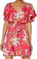 BB Dakota Pink Floral Ruffle Sleeve Mini Wrap Dress Size 10 V-Neck, Tie Waist