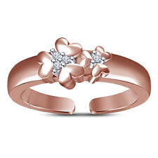 Double Flower Adjustable Wedding Toe Ring 14K Rose Gold Finish Cubic Zirconia
