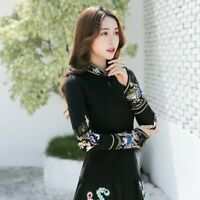 Women Chinese Floral Embroidery T-shirt Blouse Tops Mandarin Collar Ethnic Retro