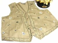 471 Bobbie Brooks Women Size 26-28W Vest Embroidered Cotton Gray Button Belted