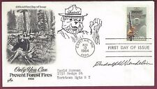 Rudolph Wendelin, Smokey The Bear Artist, Signed FDC Cover, COA, UACC RD 036