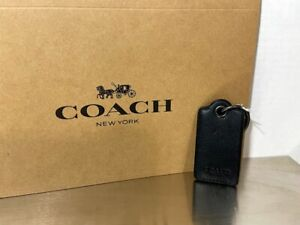 COACH MENS F64140 BLACK LEATHER CASE KEY FOB W BOTTLE OPENER NEW WITH TAGS & BOX
