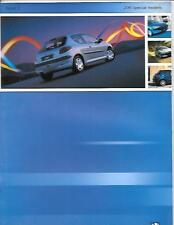 PEUGEOT 206 SPECIAL CAR MODELS SALES BROCHURE JULY 2001