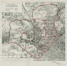 Salford Parliamentary Borough. Manchester. BOUNDARY COMMISSION. Close 1917 map