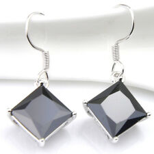 24.25 Cts Square Cut Black Onyx Gemstone Silver Dangle Hook Earrings