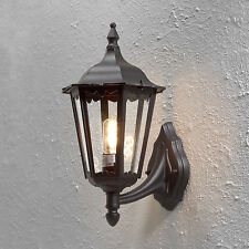 Large Outdoor Wall Lantern Outside Light Black 6 Sided Exterior Lamp Wall Light