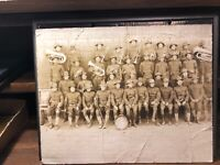 Large Vintage Original WWI ? Photo Photograph Soldiers with Band Instruments