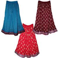 Indian Skirt Rayon Free Size Waist Long Dress Skirts 8 Uk Women Print Ethnic