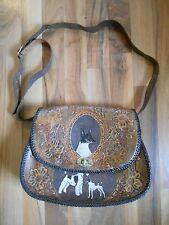 Old Vintage Antique Hand Tooled Leather Purse Handbag Wire Smooth Fox Terrier