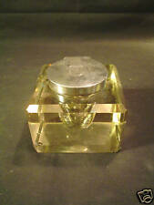 IMPRESSIVE ANTIQUE CUT GLASS INKWELL with STERLING SILVER TOP, c. 1902