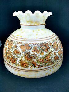 "10"" White Milk Glass Student Oil Lamp Shade Floral Irridescent Rayo Aladdin"