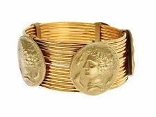 USD2305 & tax NEW DOLCE & GABBANA Wide Roman Gold Coin Bangle w DUST COVER & TAG