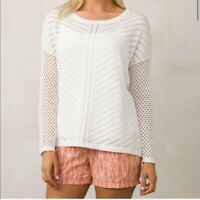 Prana Parker White Open Knit Long Sleeve Sweater size S Small Knit Top  CN