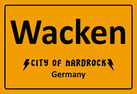 Wacken City Of Hardrock Alemania Letrero de Metal Arqueado Cartel Lata