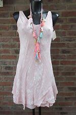 Knielang Kleid Trägerkleid Hippie Rosa-Weiß Volant Ornamente 36-38-40 Lagenlock