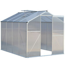 8.2x6.2ft Walk-in Garden Greenhouse Heavy Duty Polycarbonate Roof Aluminum Frame