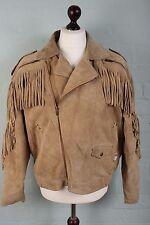 Vtg Leather Biker Cowboy D Pocket Western Rockabilly Suede Tassel Jacket Coat 42