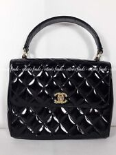Auth Chanel Top Handle Flap Black Quilted Patent Leather Golden Hardware Bag