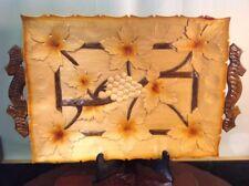 """Vtg Unique Folk Art Very Large Hand Carved Solid Wood Serving Platter 20""""x12"""""""