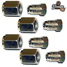 """Brake Pipe Connectors 10mm x 1mm 1 Way Inline Male + Female Nuts For 3/16"""" Pipe"""