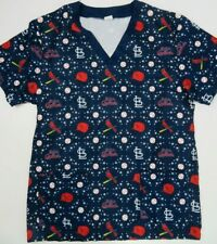 St Louis Cardinals SGA Blue Baseball Scrub Top Shirt Size M