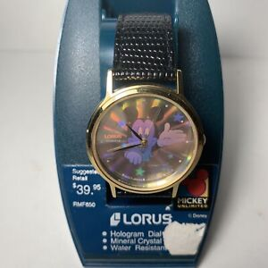 Vintage Disney Lorus Mickey Mouse Hologram Watch Mens Wristwatch NOS