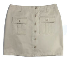 Fashion Bug Womens 12 Skirt Tan Denim Sporty Short Knee Length Button Front