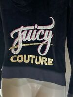$250 Juicy Couture Black Zipper Front Long Sleeve Hooded Jacket Size S Bling