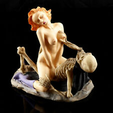Skeleton Lovers Skulls Statue Erotic Couple Figurine Resin  Sculpture aa