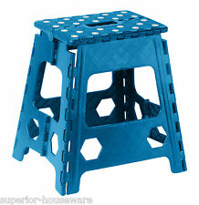 Plastic Folding Step Stool with Anti Slip Dots 15 Inch (Blue) -333