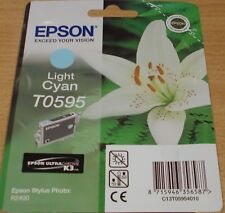 Genuine EPSON T0595 TO595 Luce Cyan Cartuccia sigillata originale Lily R2400 inchiostro