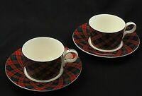 "TARTAN PLAID by Arita Flat CUP SAUCER Set Red Green 2 1/4"" - Set of 2"