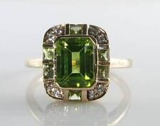LARGE 9CT 9K GOLD PERIDOT DIAMOND ART DECO INS RING FREE RESIZE