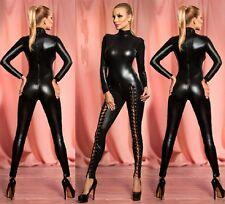 New Ladies Black High Neck Wet Look jumpsuit,Catsuit,Club Wear Size UK 10-12