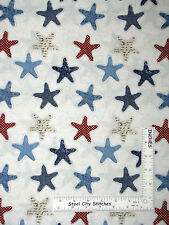 Nutical Starfish Fabric - Sea Ocean Beach Star Fish Anchors Away #25435 - Yard