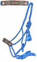 Showman Woven Blue Nylon Mule Tape Halter w/ Painted Aztec Leather Noseband
