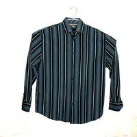 Cubavera Mens Large Long Sleeve Button Front Shirt  Cotton Stripes
