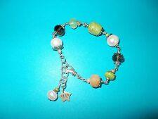 Artisan Olin Smoky Quartz Pearl & Multi Gemtone On Sterling Chain Bracelet