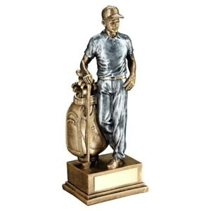 Bronze/Pewter Male Golfer And Bag Trophy - 8in FREE Engraving