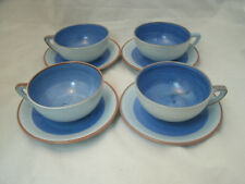 Stangl CHERRY Blue & Brown 4 Tea Coffee Cup Saucer Sets 3302 Hand Painted HTF